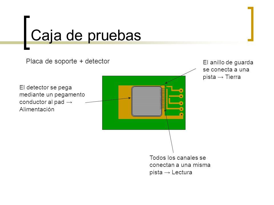 Caja de pruebas El detector se pega mediante un pegamento conductor al pad Alimentación Todos los canales se conectan a una misma pista Lectura El ani