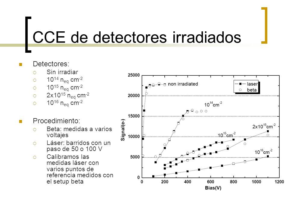CCE de detectores irradiados Detectores: Sin irradiar 10 14 n eq cm -2 10 15 n eq cm -2 2x10 15 n eq cm -2 10 16 n eq cm -2 Procedimiento: Beta: medid