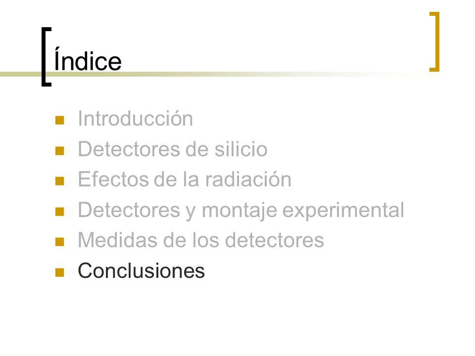 Índice Introducción Detectores de silicio Efectos de la radiación Detectores y montaje experimental Medidas de los detectores Conclusiones
