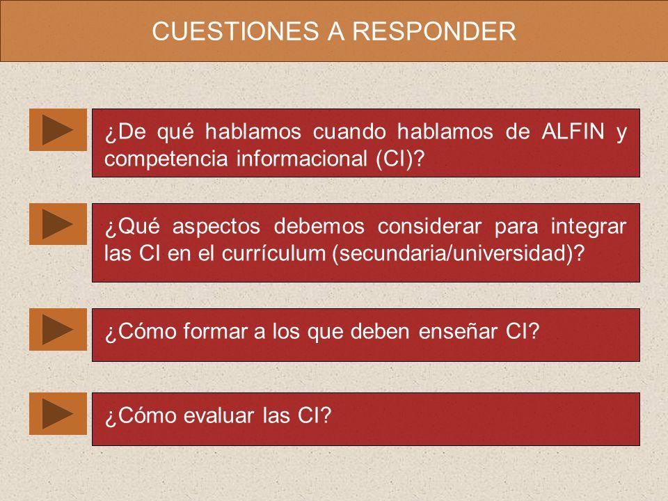 CUESTIONES A RESPONDER ¿De qué hablamos cuando hablamos de ALFIN y competencia informacional (CI).