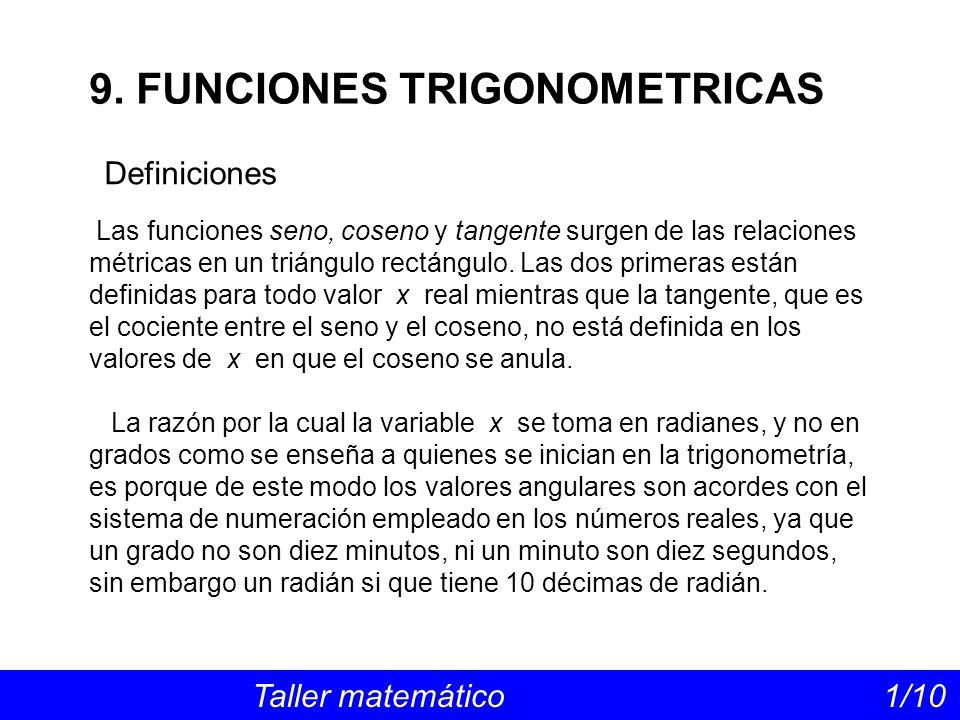 Definiciones Taller matemático 1/10 9. FUNCIONES TRIGONOMETRICAS Las funciones seno, coseno y tangente surgen de las relaciones métricas en un triángu