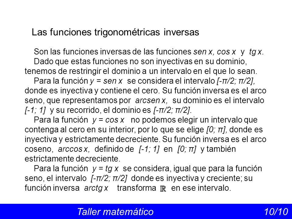 Las funciones trigonométricas inversas Taller matemático 10/10 Son las funciones inversas de las funciones sen x, cos x y tg x. Dado que estas funcion