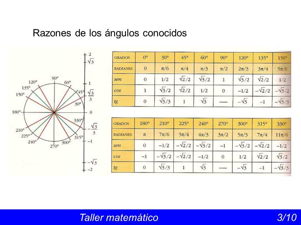 Razones de los ángulos conocidos Taller matemático 3/10