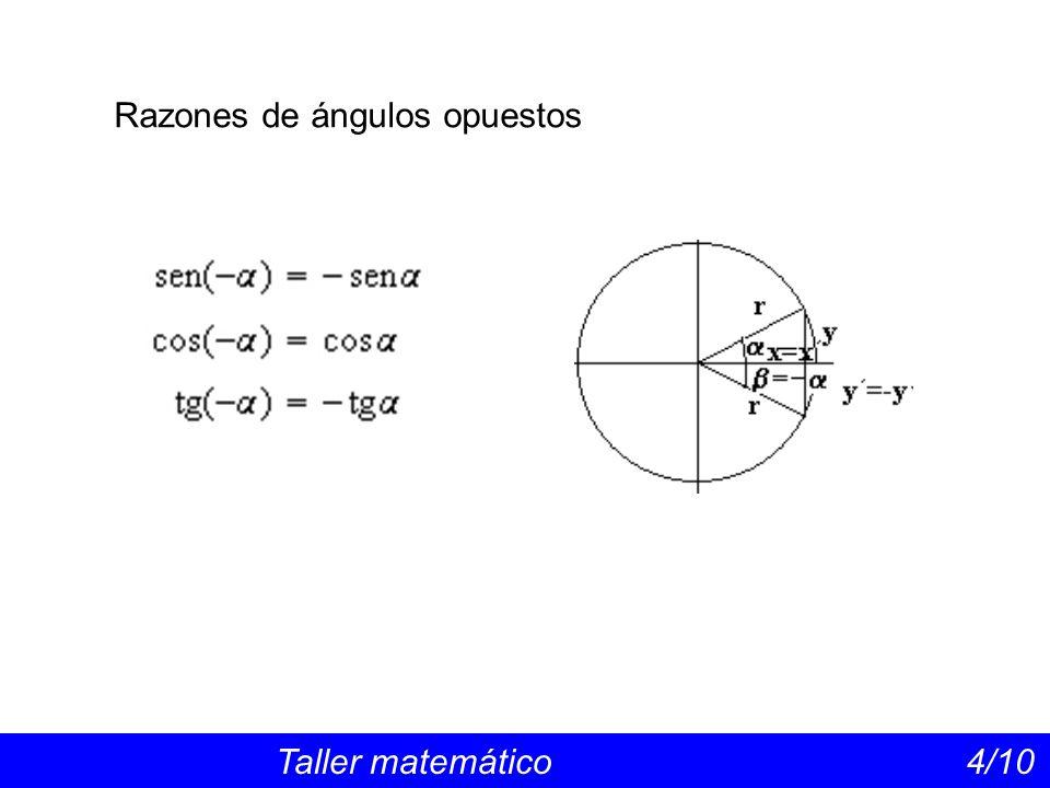 Razones de ángulos opuestos Taller matemático 4/10
