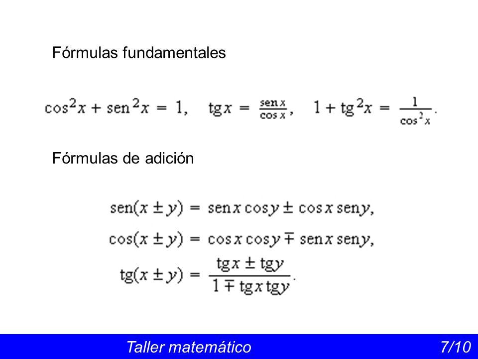 Fórmulas de arco doble Taller matemático 8/10 Fórmulas de arco mitad