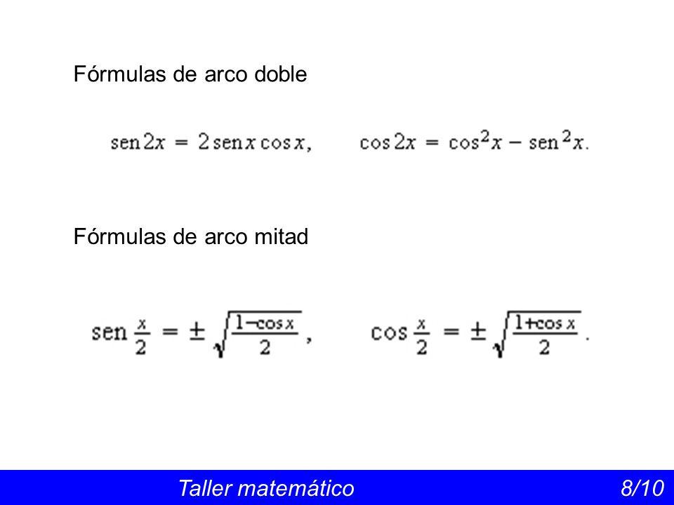 Las funciones trigonométricas recíprocas Taller matemático 9/10 Las funciones trigonométricas recíprocas son menos utilizadas y se definen por Sus gráficas pueden hallarse sin más que considerar las de sen x, cos x y tg x e invertirlas con la técnica del punto a punto, que consiste en considerar en cada punto x el valor inverso de la ordenada f(x), es decir.
