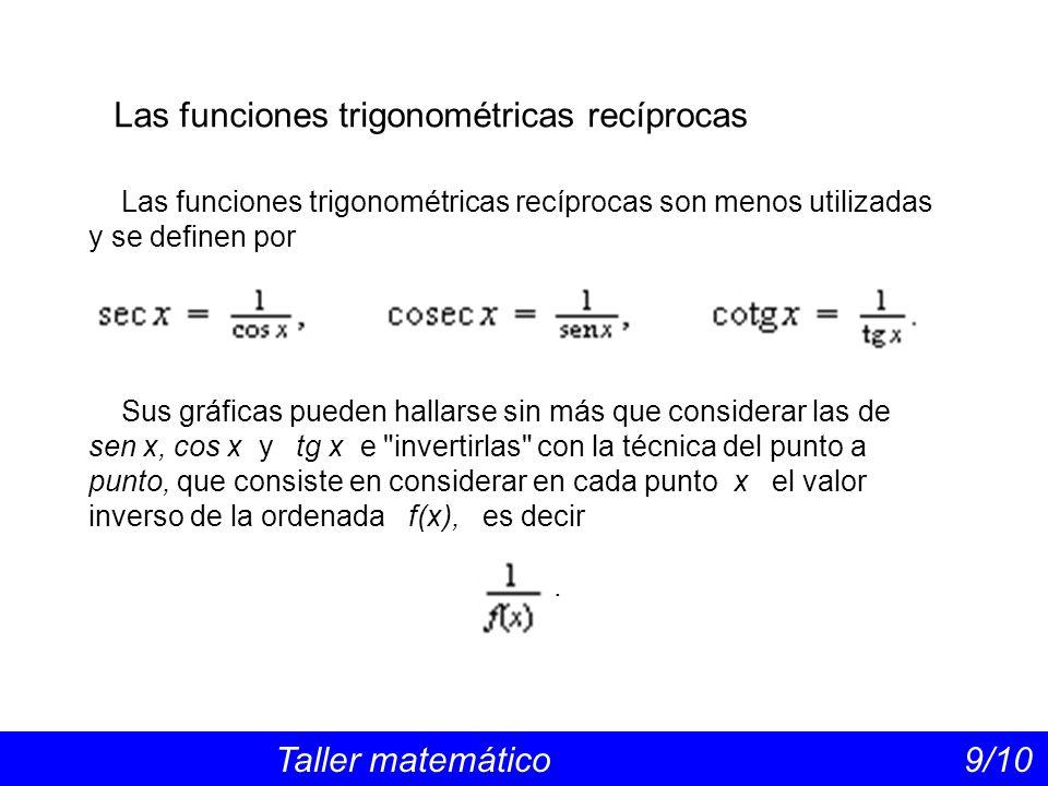 Las funciones trigonométricas inversas Taller matemático 10/10 Son las funciones inversas de las funciones sen x, cos x y tg x.
