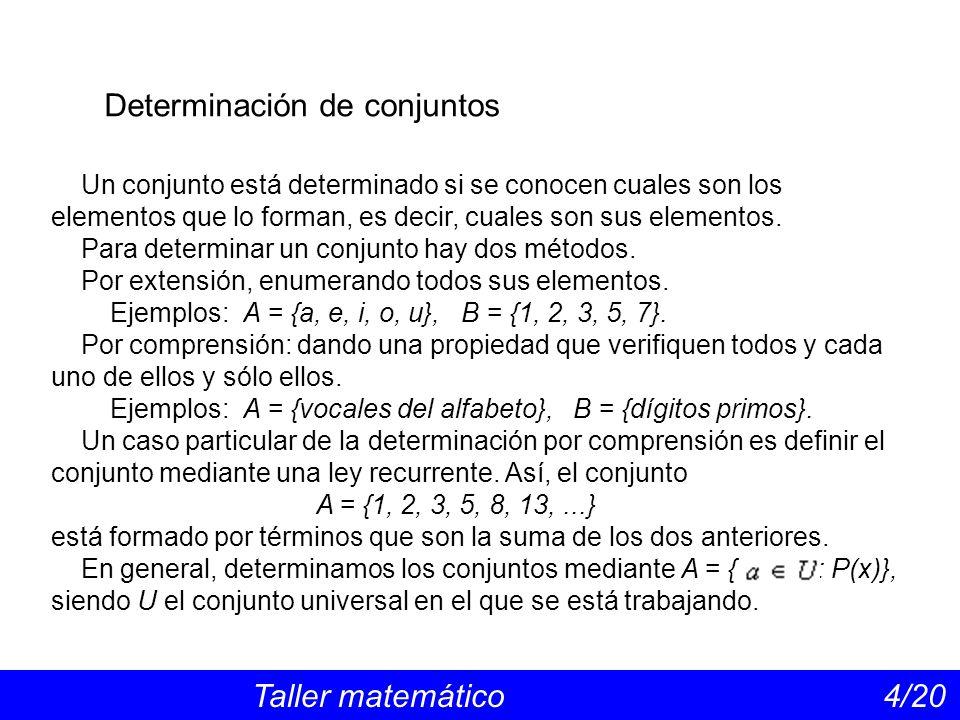 Determinación de conjuntos Taller matemático 4/20 Un conjunto está determinado si se conocen cuales son los elementos que lo forman, es decir, cuales son sus elementos.