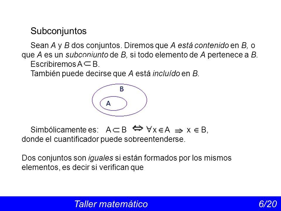 Conjunto de las partes Taller matemático 17/20 Ejemplo: Si el conjunto es A = {1, 2, 3, 4}, el conjunto de las partes de A tiene = 16 elementos, que son los subconjuntos de A, y pueden escribirse ordenadamente: P(A) = {, {1}, {2}, {3}, {4}, {1,2}, {1,3}, {1,4}, {2,3}, {2,4}, {3,4}, {1,2,3}, {1,2,4}, {1,3,4}, {2,3,4}, {1,2,3,4}}.