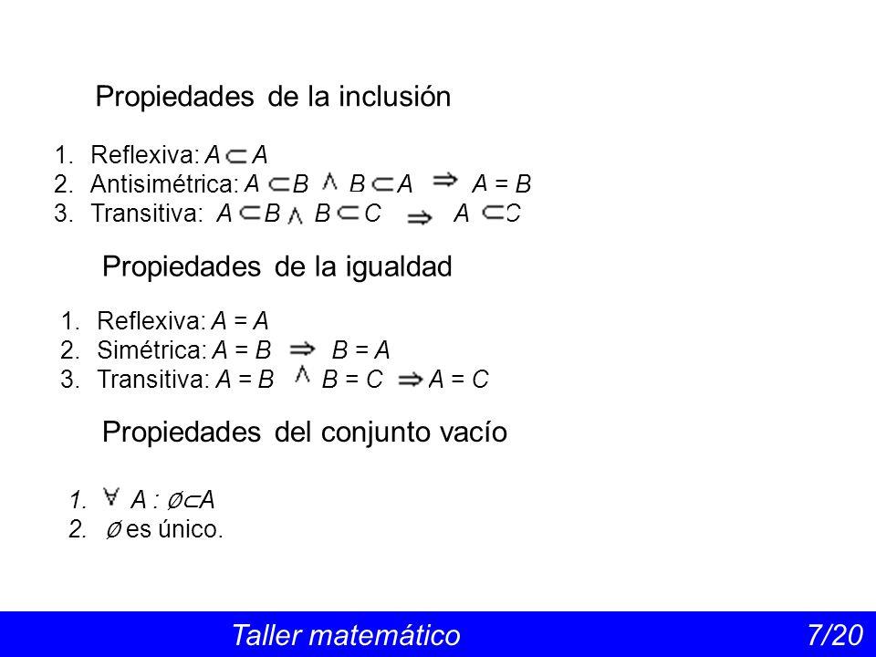 Propiedades de la inclusión Taller matemático 7/20 1.Reflexiva: A A 2.Antisimétrica: A B B A A = B 3.Transitiva: A B B C A C Propiedades de la igualdad 1.Reflexiva: A = A 2.Simétrica: A = B B = A 3.Transitiva: A = B B = C A = C 1.