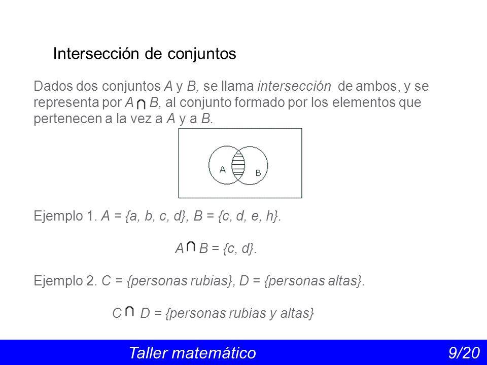 Intersección de conjuntos Taller matemático 9/20 Dados dos conjuntos A y B, se llama intersección de ambos, y se representa por A B, al conjunto formado por los elementos que pertenecen a la vez a A y a B.