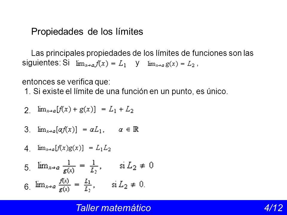 Propiedades de los límites Taller matemático 4/12 Las principales propiedades de los límites de funciones son las siguientes: Si y, entonces se verifi