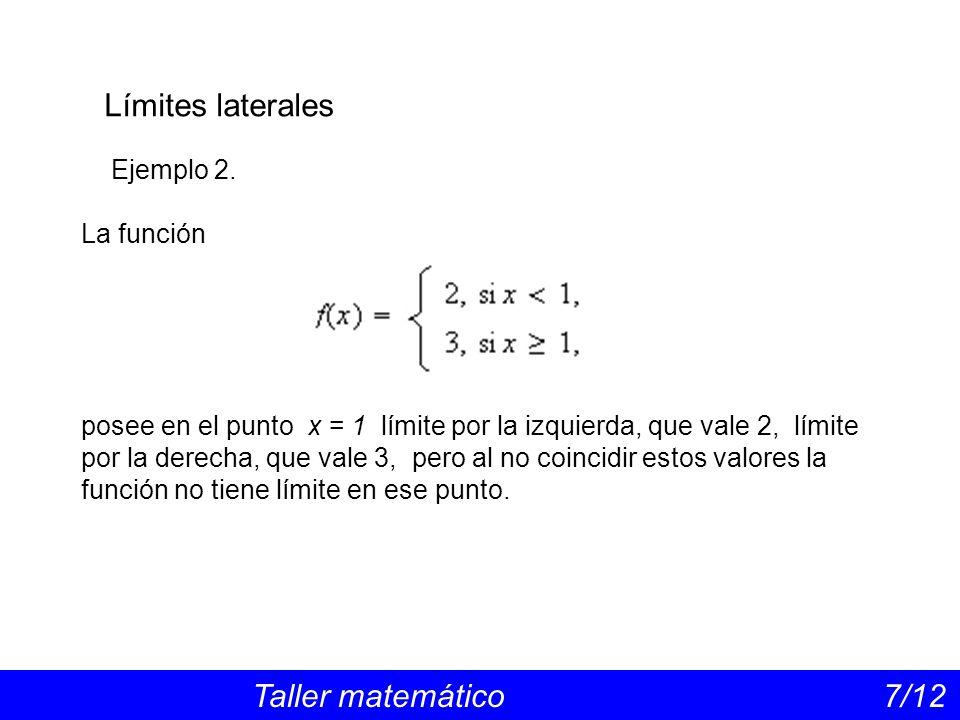 Límites laterales Taller matemático 7/12 Ejemplo 2. La función posee en el punto x = 1 límite por la izquierda, que vale 2, límite por la derecha, que