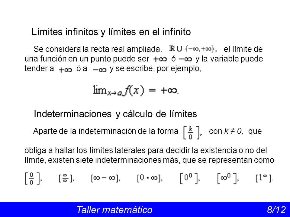 Límites infinitos y límites en el infinito Taller matemático 8/12 Se considera la recta real ampliada, el límite de una función en un punto puede ser