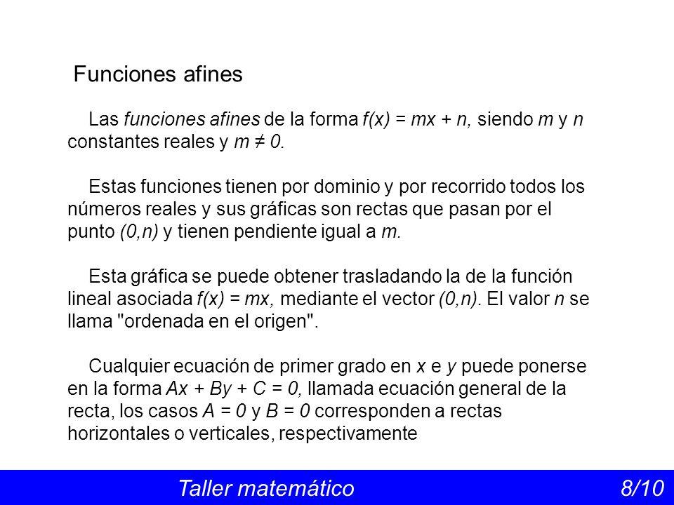 Funciones afines Taller matemático 8/10 Las funciones afines de la forma f(x) = mx + n, siendo m y n constantes reales y m 0. Estas funciones tienen p
