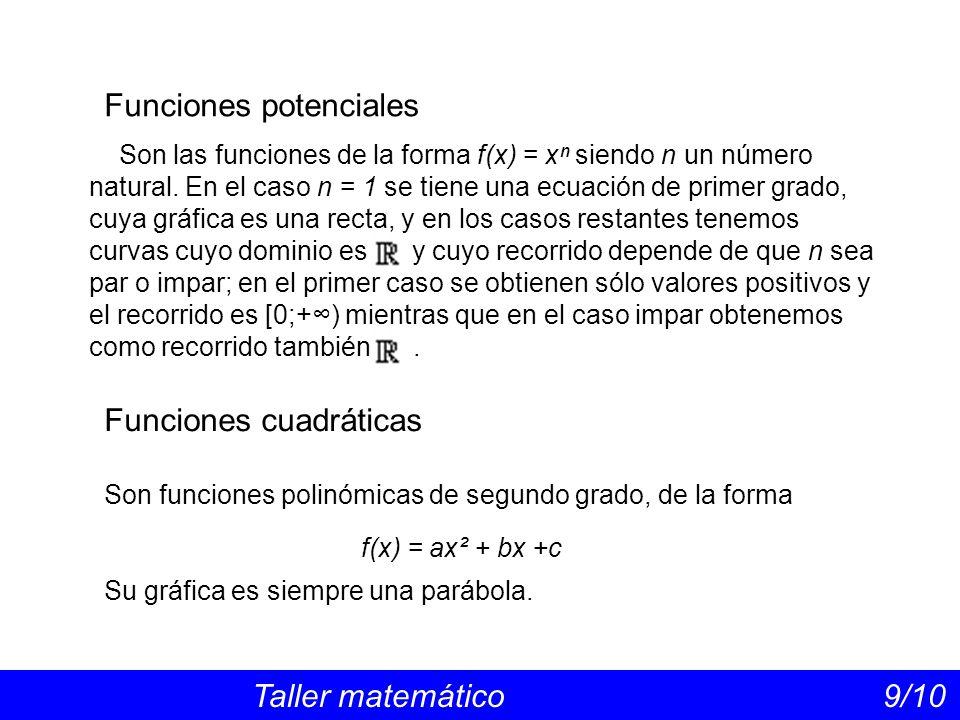 Funciones racionales Taller matemático 10/10 Funciones radicales Son las que están expresadas mediante un cociente entre polinomios: El dominio está formado por todos los números reales excepto los valores de x que anulen el denominador, si los hay.