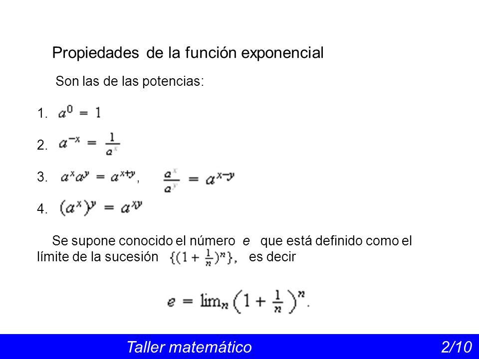 Propiedades de la función exponencial Taller matemático 2/10 Son las de las potencias: 1.