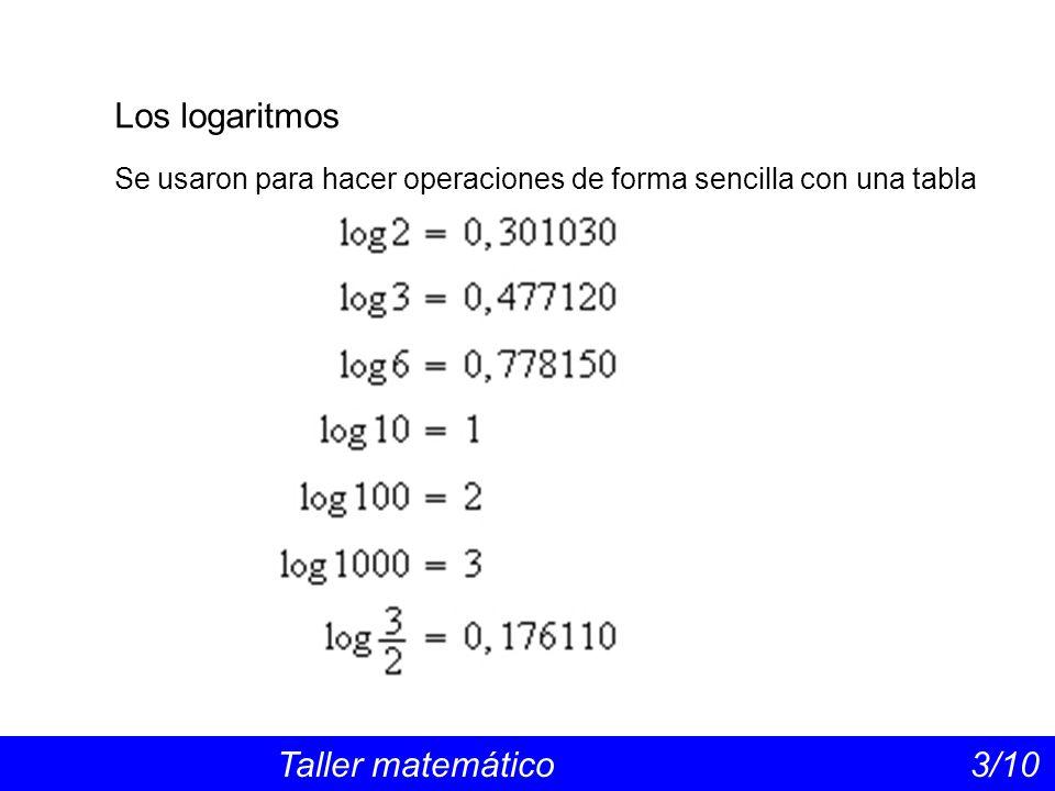 Los logaritmos Taller matemático 3/10 Se usaron para hacer operaciones de forma sencilla con una tabla