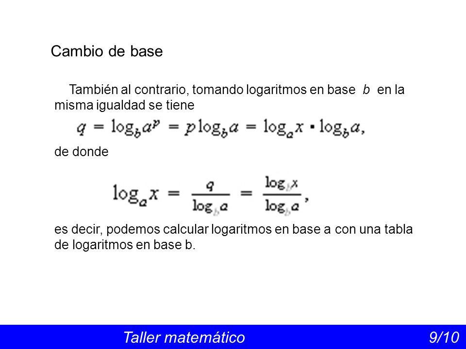 Cambio de base Taller matemático 9/10 También al contrario, tomando logaritmos en base b en la misma igualdad se tiene de donde es decir, podemos calcular logaritmos en base a con una tabla de logaritmos en base b.