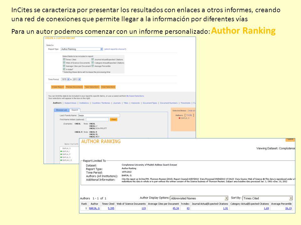 InCites se caracteriza por presentar los resultados con enlaces a otros informes, creando una red de conexiones que permite llegar a la información po