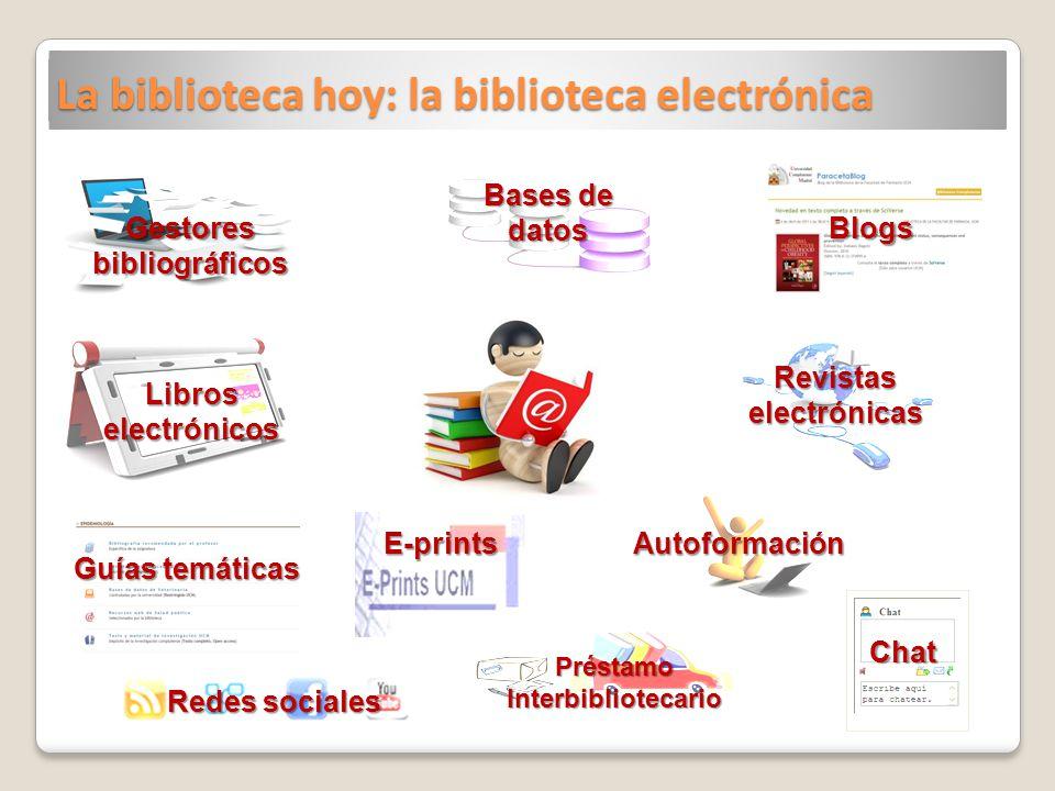 La biblioteca hoy: la biblioteca electrónica Blogs Préstamo Interbibliotecario Gestores bibliográficos Libros electrónicos Guías temáticas Revistas el