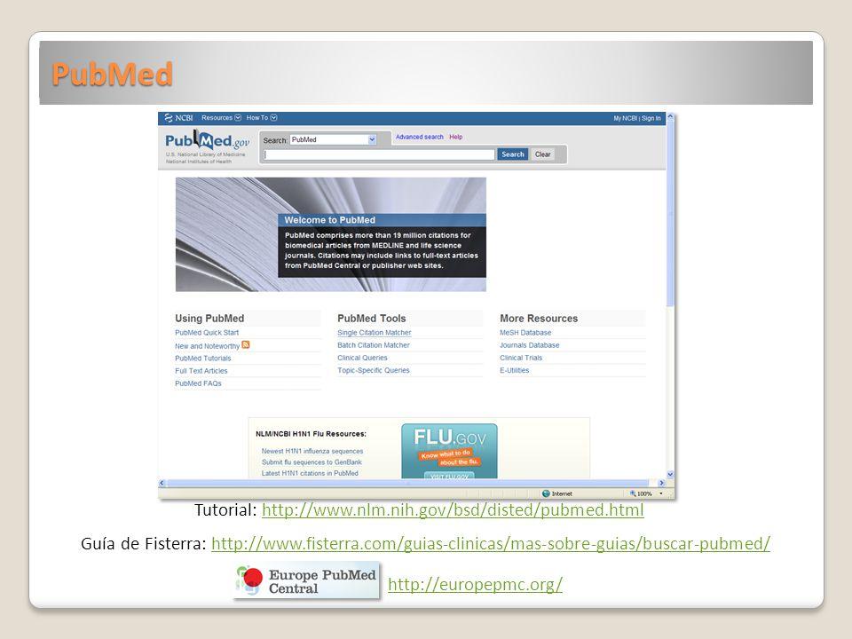 PubMed Tutorial: http://www.nlm.nih.gov/bsd/disted/pubmed.htmlhttp://www.nlm.nih.gov/bsd/disted/pubmed.html Guía de Fisterra: http://www.fisterra.com/