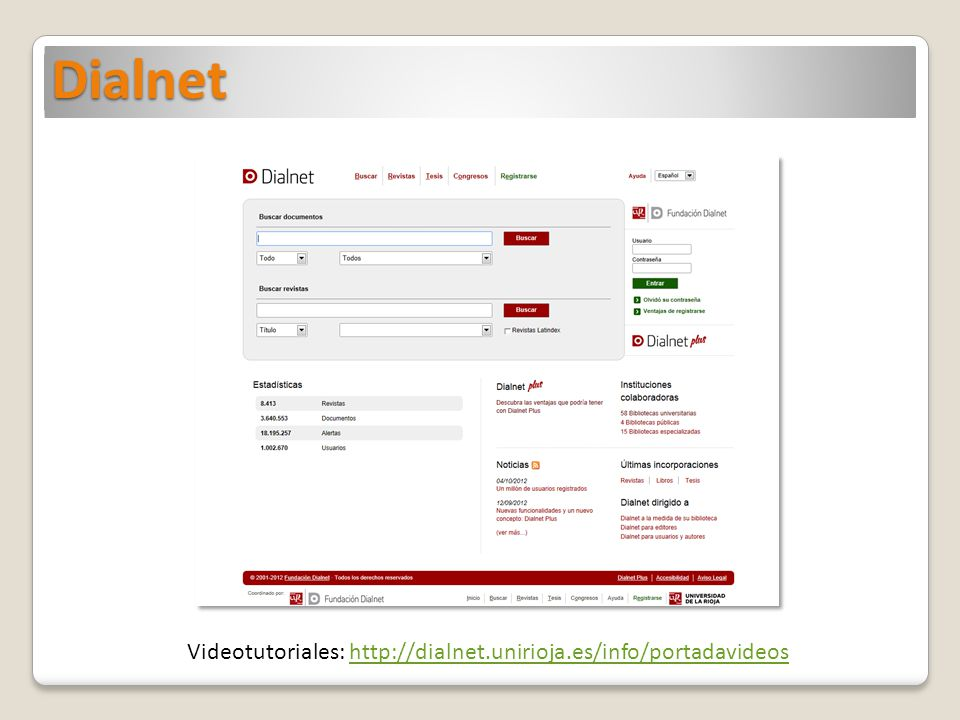 Dialnet Videotutoriales: http://dialnet.unirioja.es/info/portadavideoshttp://dialnet.unirioja.es/info/portadavideos