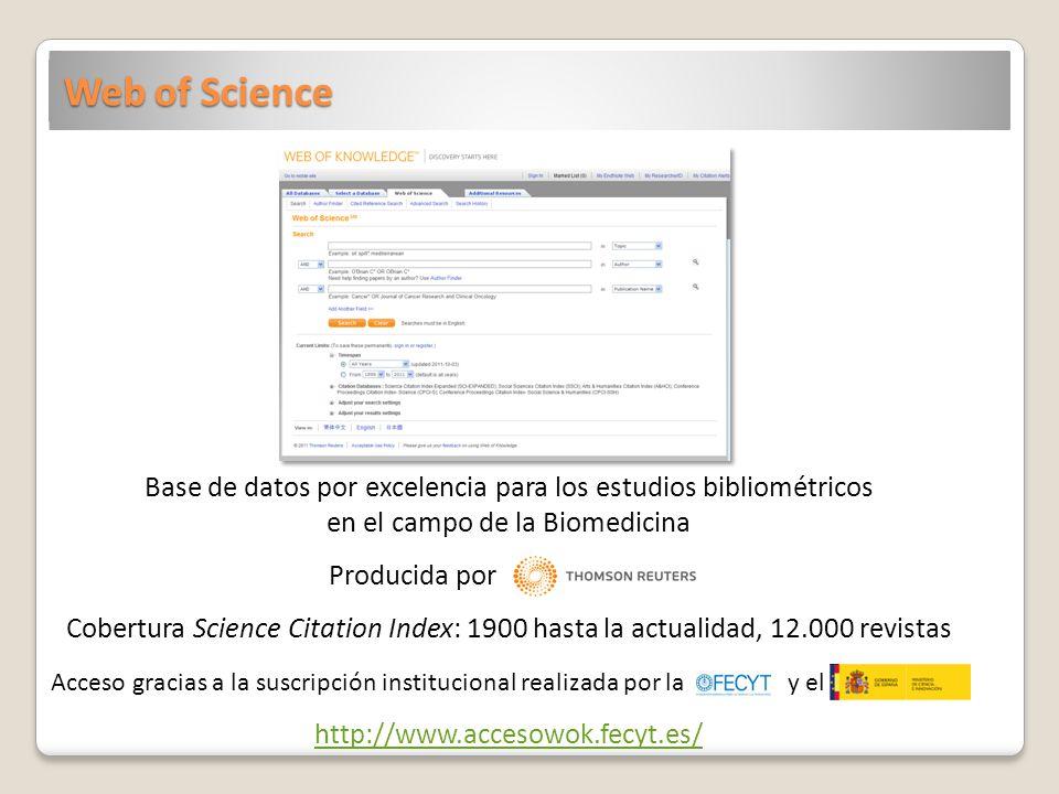 Web of Science Base de datos por excelencia para los estudios bibliométricos en el campo de la Biomedicina Producida por Cobertura Science Citation In