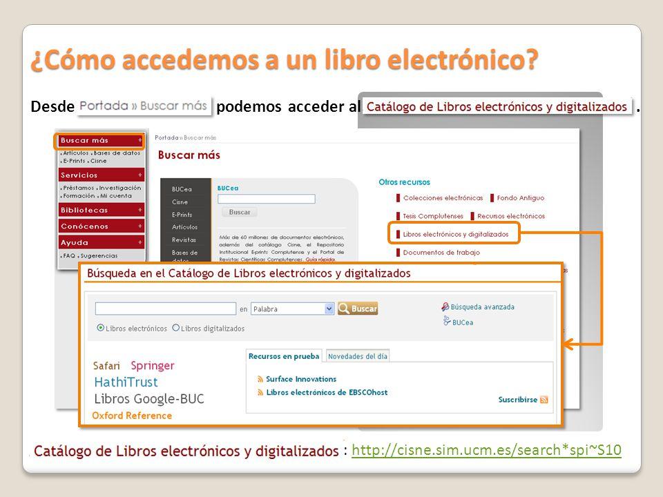 Desde podemos acceder al. ¿Cómo accedemos a un libro electrónico? : http://cisne.sim.ucm.es/search*spi~S10http://cisne.sim.ucm.es/search*spi~S10