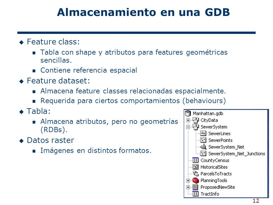 12 Almacenamiento en una GDB Feature class: Tabla con shape y atributos para features geométricas sencillas. Contiene referencia espacial Feature data
