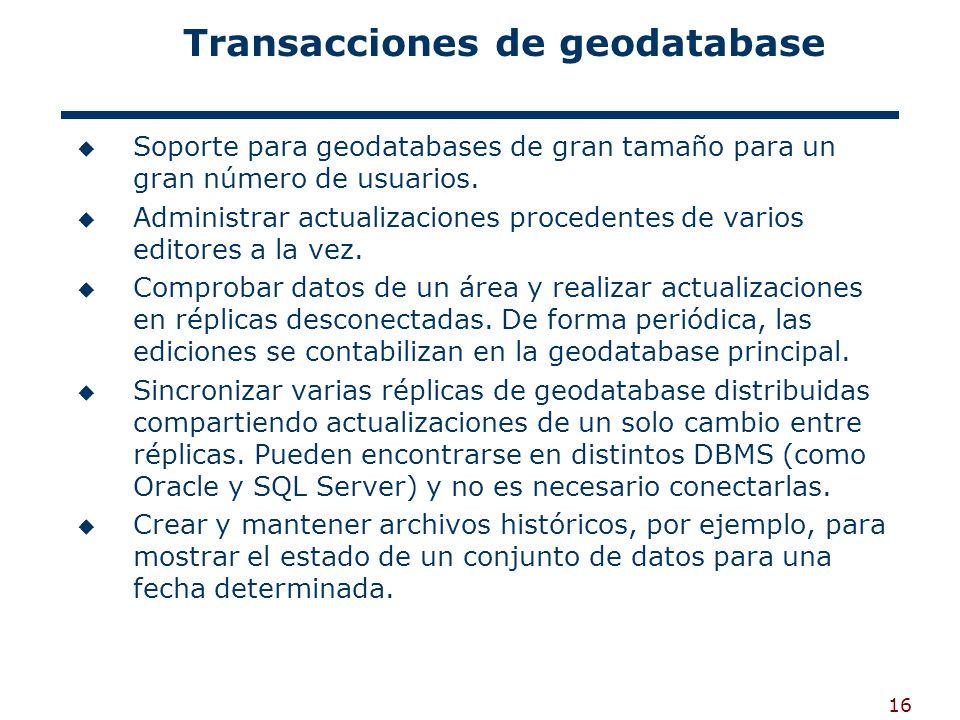 16 Transacciones de geodatabase Soporte para geodatabases de gran tamaño para un gran número de usuarios.