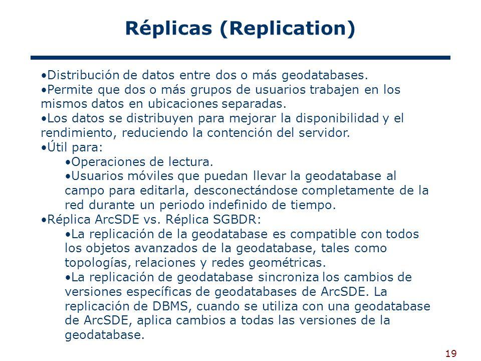 19 Réplicas (Replication) Distribución de datos entre dos o más geodatabases.
