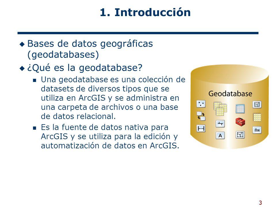 3 1.Introducción Bases de datos geográficas (geodatabases) ¿Qué es la geodatabase.