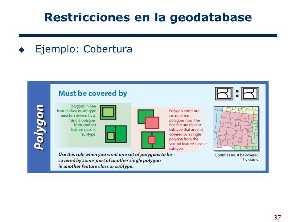 37 Restricciones en la geodatabase Ejemplo: Cobertura