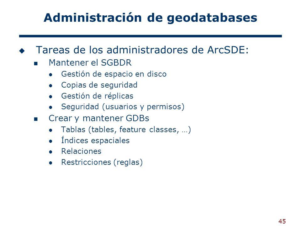 45 Administración de geodatabases Tareas de los administradores de ArcSDE: Mantener el SGBDR Gestión de espacio en disco Copias de seguridad Gestión de réplicas Seguridad (usuarios y permisos) Crear y mantener GDBs Tablas (tables, feature classes, …) Índices espaciales Relaciones Restricciones (reglas)