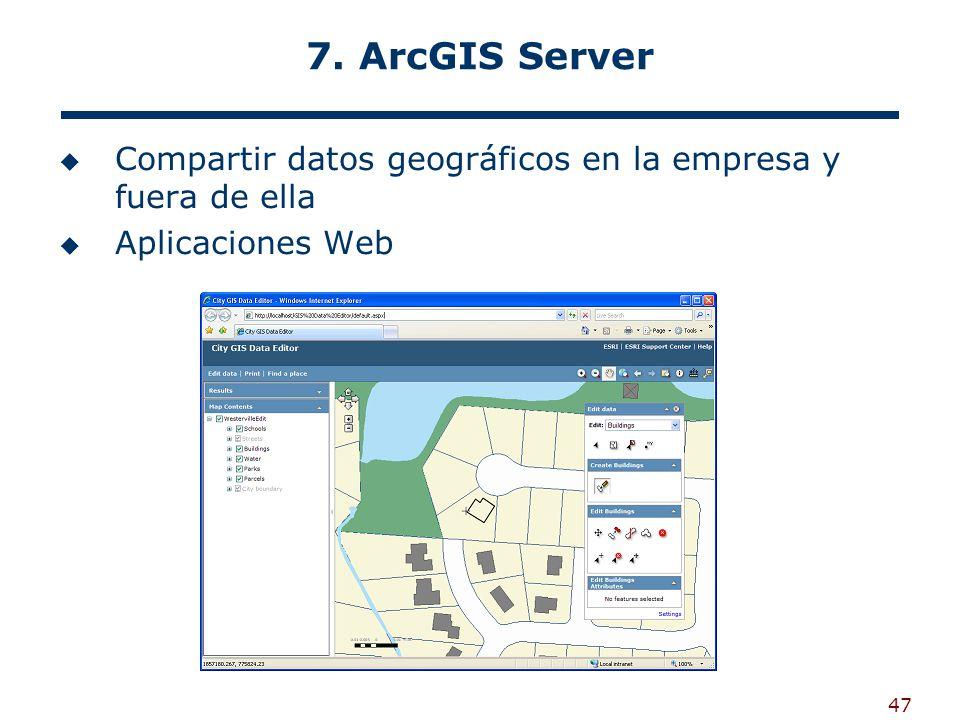 47 7. ArcGIS Server Compartir datos geográficos en la empresa y fuera de ella Aplicaciones Web