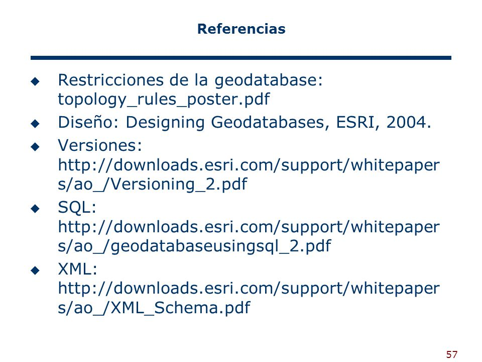 57 Referencias Restricciones de la geodatabase: topology_rules_poster.pdf Diseño: Designing Geodatabases, ESRI, 2004. Versiones: http://downloads.esri