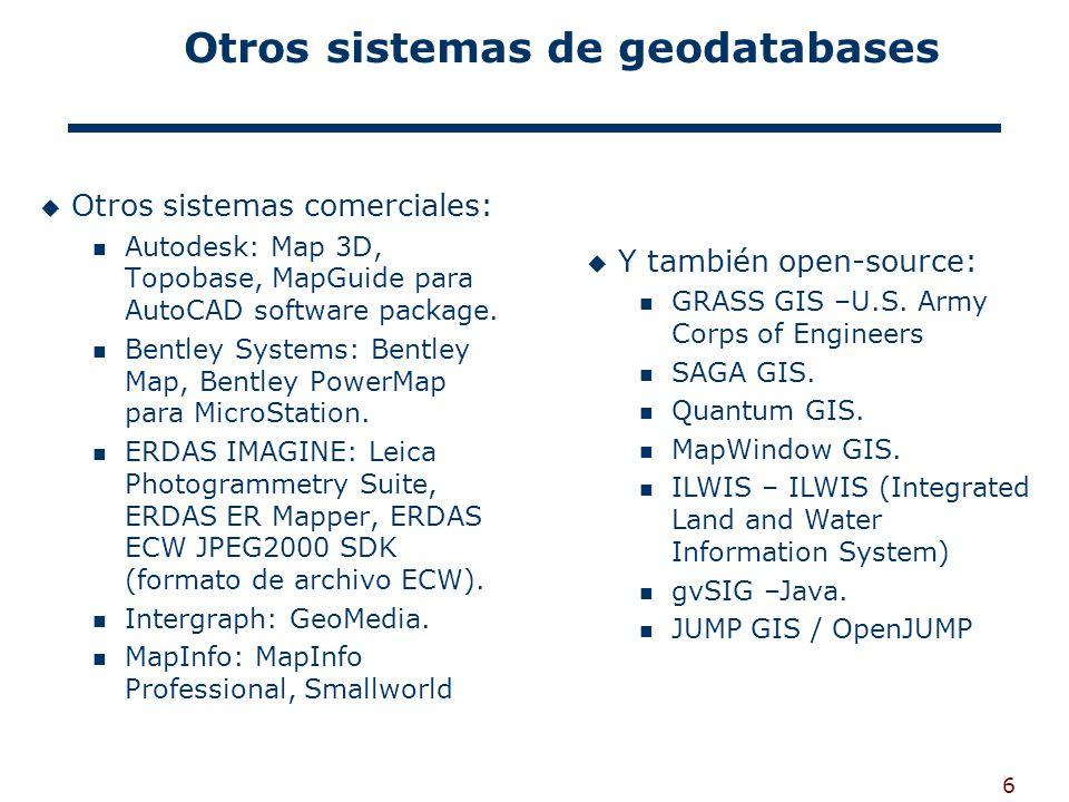 6 Otros sistemas de geodatabases Otros sistemas comerciales: Autodesk: Map 3D, Topobase, MapGuide para AutoCAD software package.