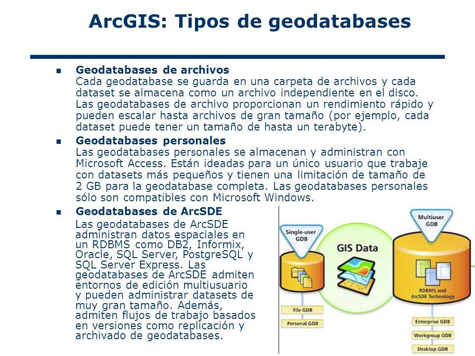 7 Geodatabases de archivos Cada geodatabase se guarda en una carpeta de archivos y cada dataset se almacena como un archivo independiente en el disco.