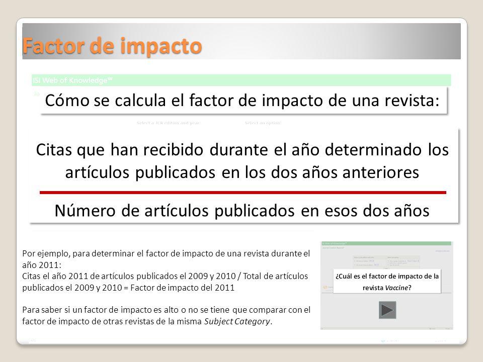 Factor de impacto Citas que han recibido durante el año determinado los artículos publicados en los dos años anteriores Número de artículos publicados en esos dos años Por ejemplo, para determinar el factor de impacto de una revista durante el año 2011: Citas el año 2011 de artículos publicados el 2009 y 2010 / Total de artículos publicados el 2009 y 2010 = Factor de impacto del 2011 Para saber si un factor de impacto es alto o no se tiene que comparar con el factor de impacto de otras revistas de la misma Subject Category.