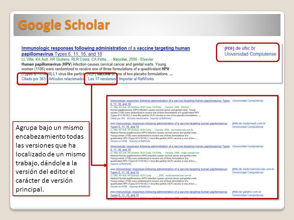 Google Scholar Agrupa bajo un mismo encabezamiento todas las versiones que ha localizado de un mismo trabajo, dándole a la versión del editor el carácter de versión principal.