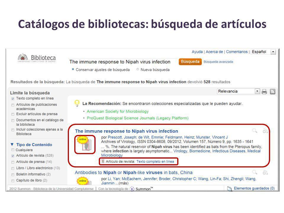 Catálogos de bibliotecas: búsqueda de artículos