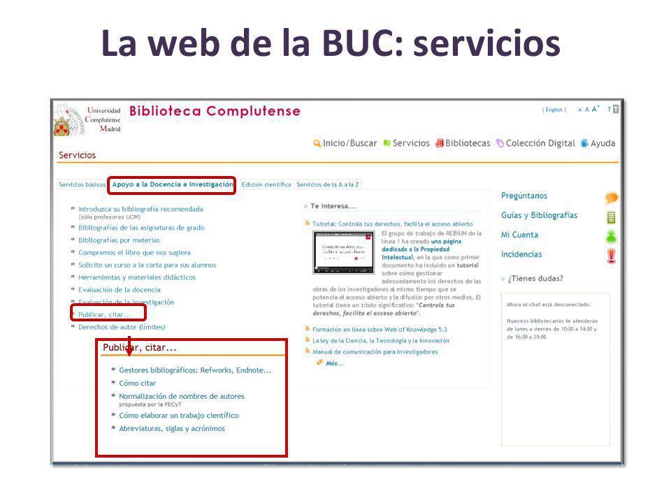 La web de la BUC: servicios