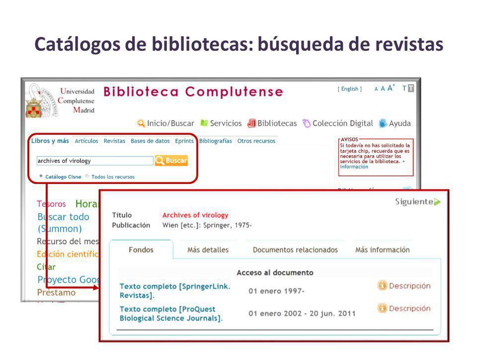 Catálogos de bibliotecas: búsqueda de revistas