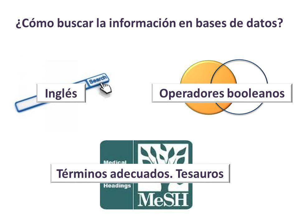 ¿Cómo buscar la información en bases de datos. Inglés Términos adecuados.