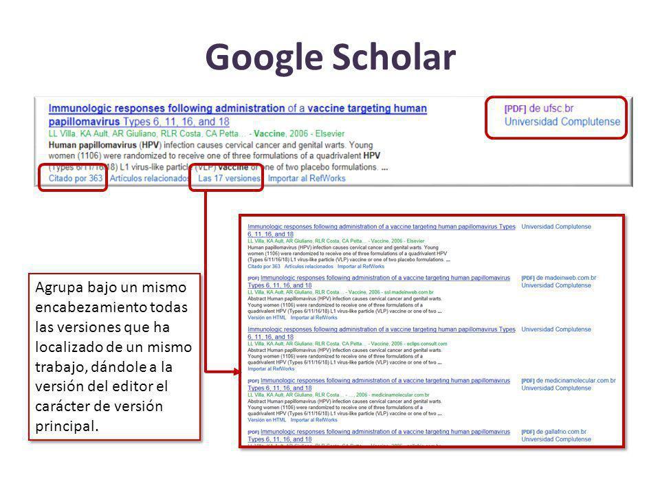 Google Scholar Agrupa bajo un mismo encabezamiento todas las versiones que ha localizado de un mismo trabajo, dándole a la versión del editor el carác