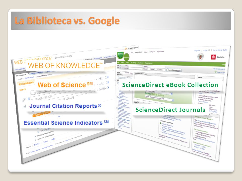 La Biblioteca vs. Google ScienceDirect eBook Collection ScienceDirect Journals