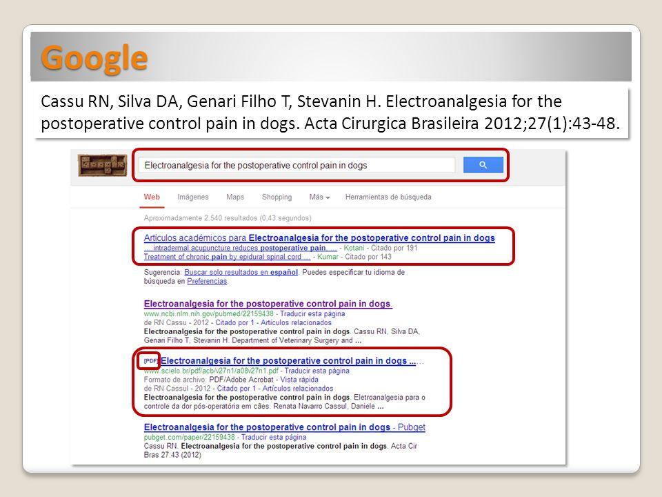 Google Cassu RN, Silva DA, Genari Filho T, Stevanin H.