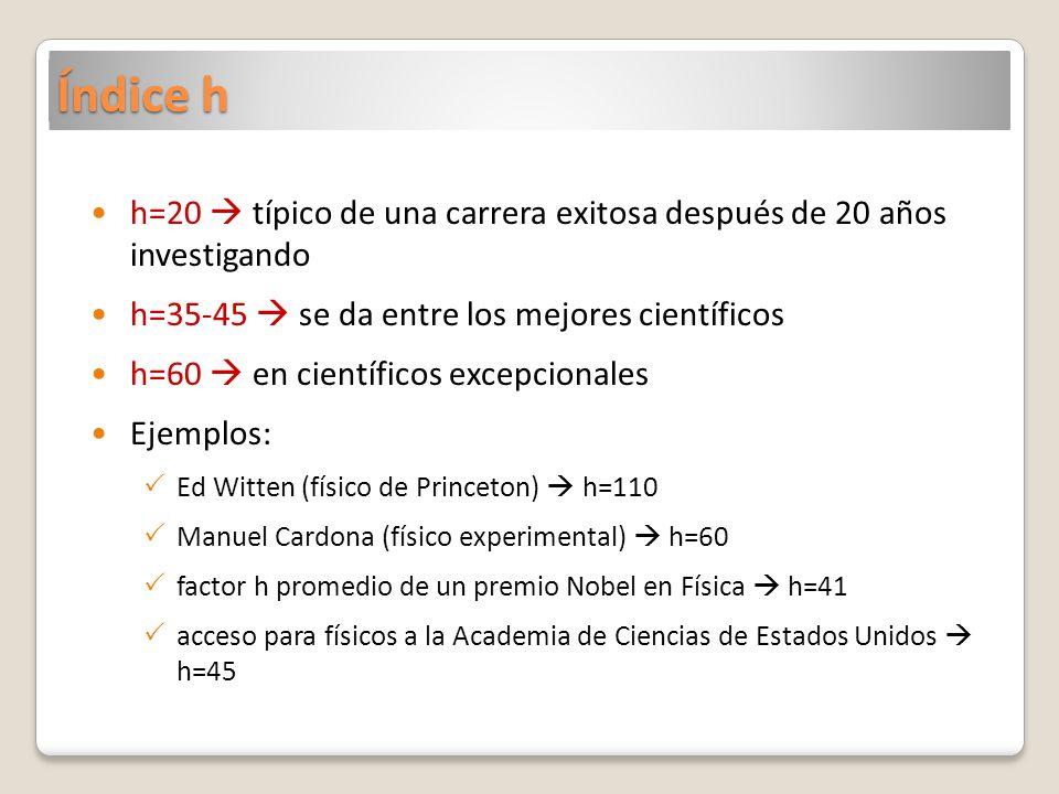 Índice h h=20 típico de una carrera exitosa después de 20 años investigando h=35-45 se da entre los mejores científicos h=60 en científicos excepciona