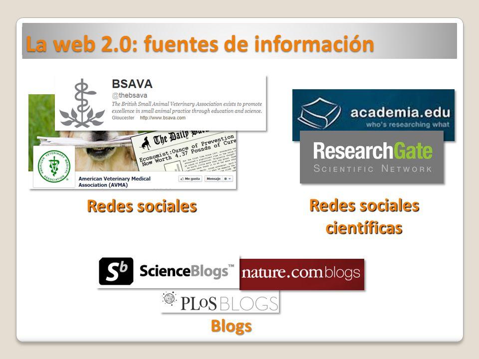 La web 2.0: fuentes de información Redes sociales científicas Blogs